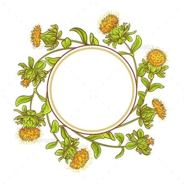 Safflower Plant Vector Frame - Health/Medicine Conceptual