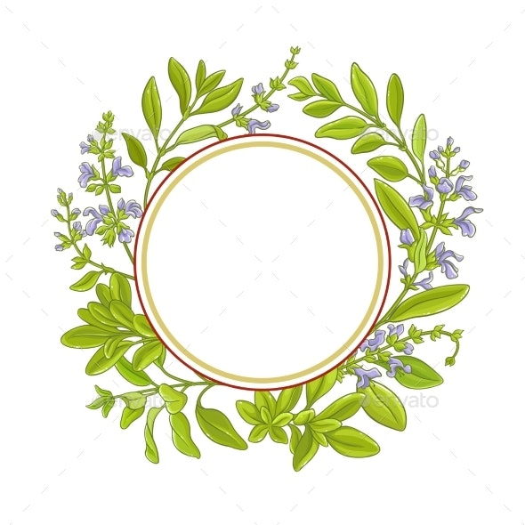 Sage Branch  Vector Frame - Food Objects