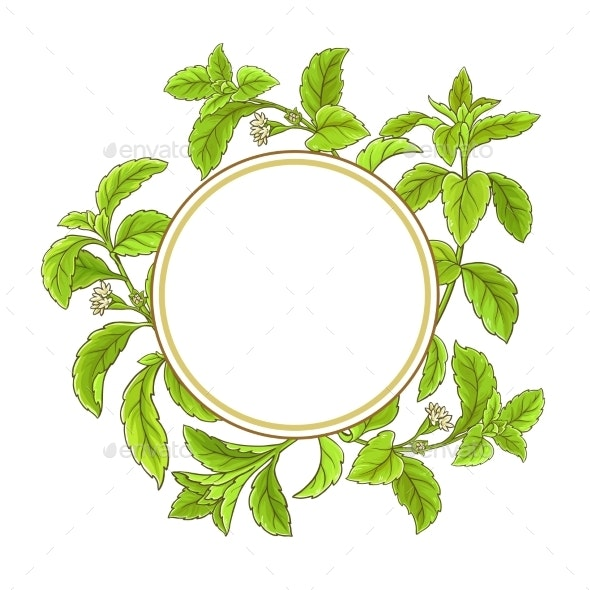 Stevia Branch Vector Frame - Food Objects