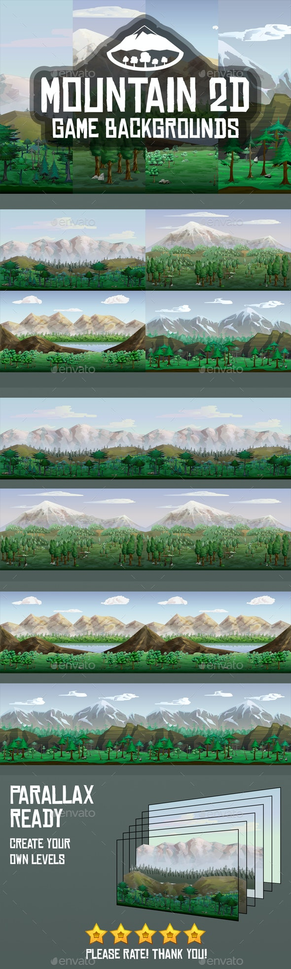 Mountain 2D Backgrounds - Backgrounds Game Assets