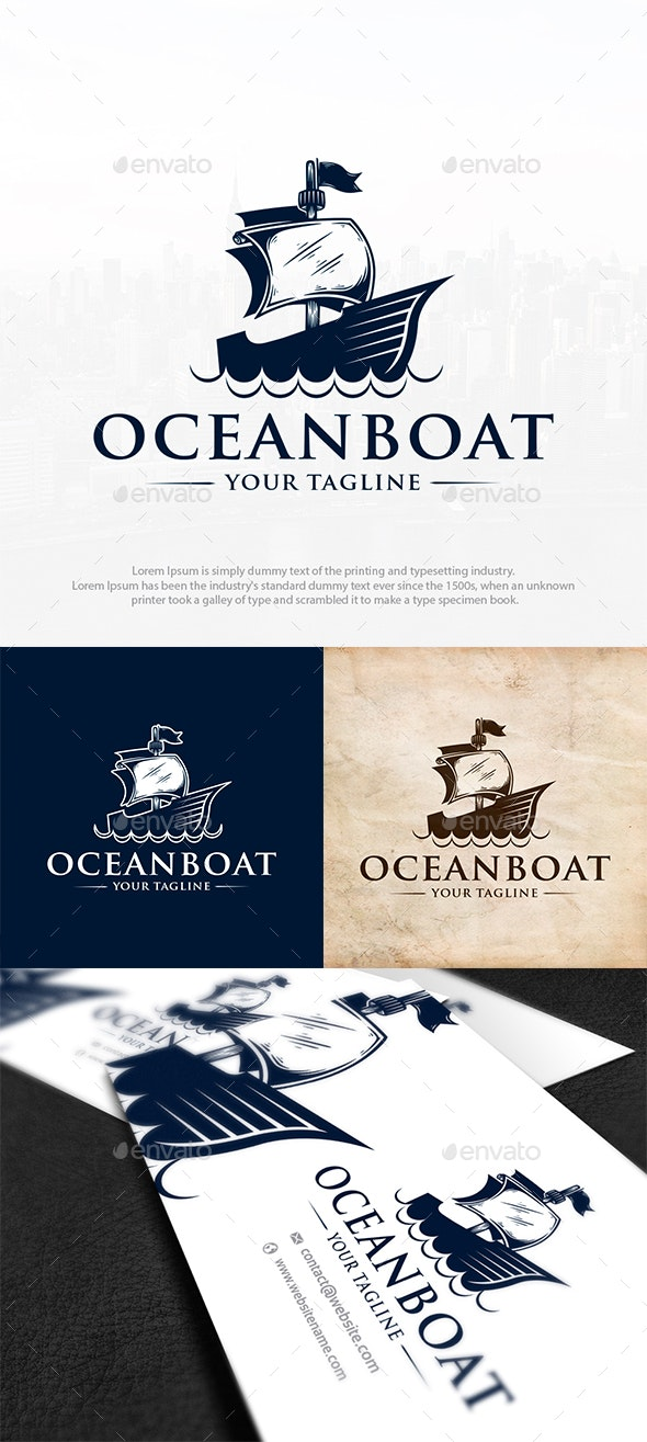 Pirate Boat Logo Template - Objects Logo Templates