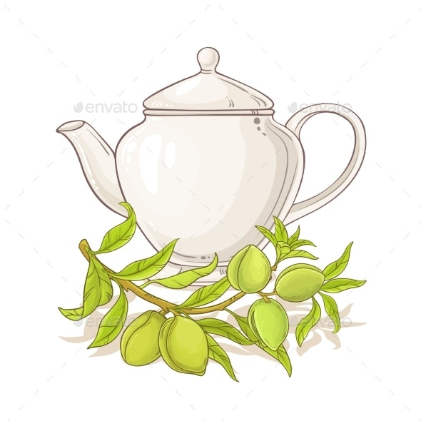 Apricot Tea in Teapot - Food Objects
