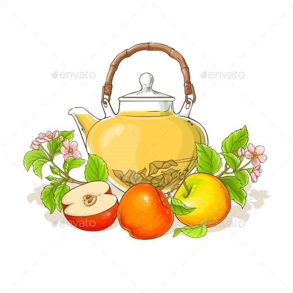Apple Tea Illustration - Food Objects