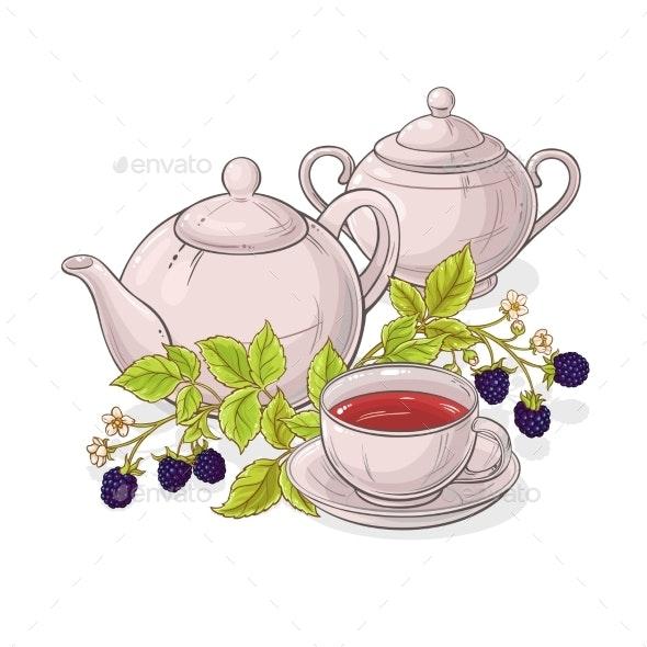 Blackberry Tea Illustration - Food Objects