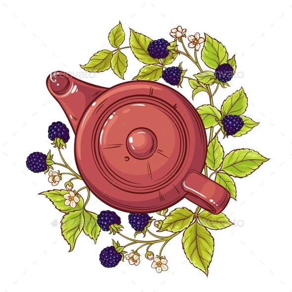 Blackberry Tea Illustration - Food Objects