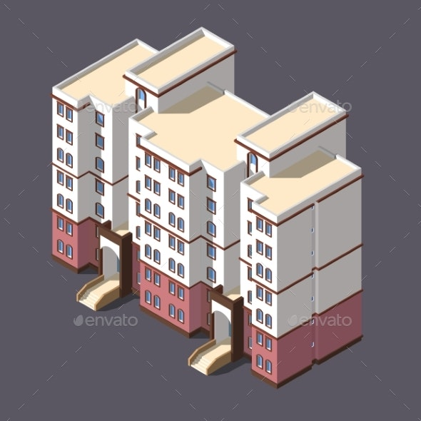 Low Poly Town Apartment Building - Buildings Objects
