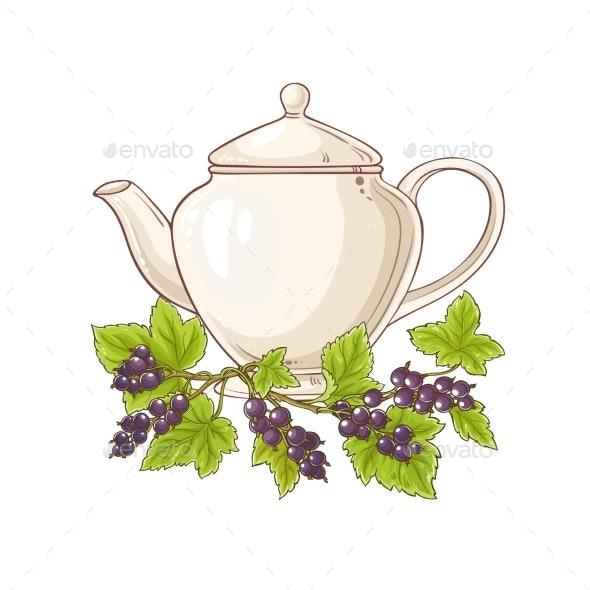 Black Currant Tea Illustration - Food Objects