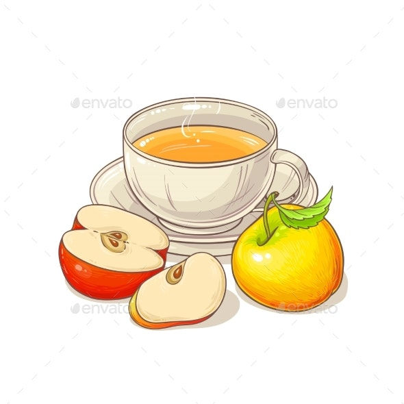 Apple Tea Illustration - Food Objects