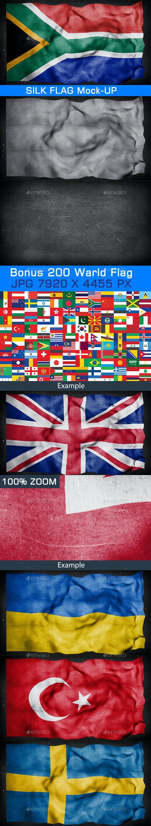 Silk Flag Mock-Up - Product Mock-Ups Graphics