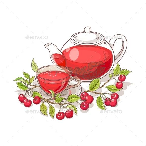Cherry Tea Vector Illustration - Food Objects