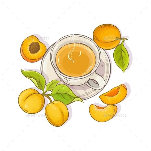 Apricot Tea Illustration - Food Objects