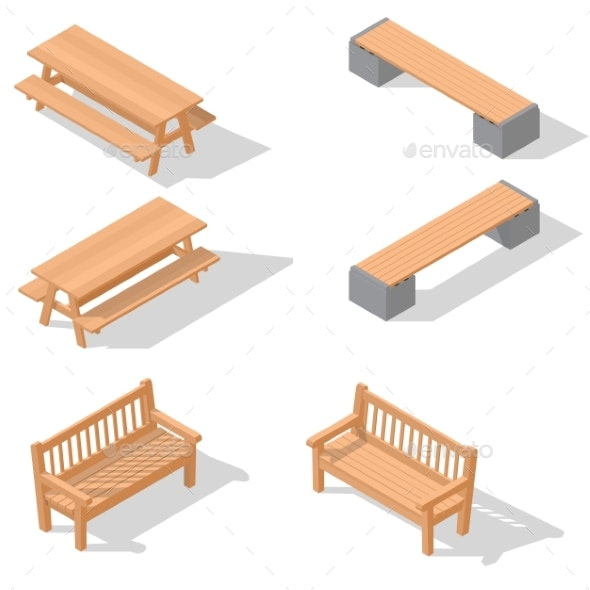 Wooden Benches and a Table - Man-made Objects Objects