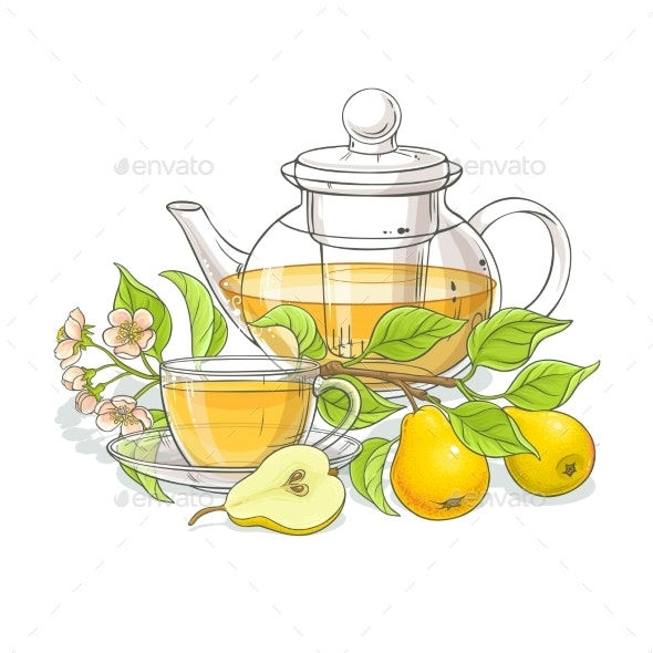 Pear Tea Illustration - Food Objects