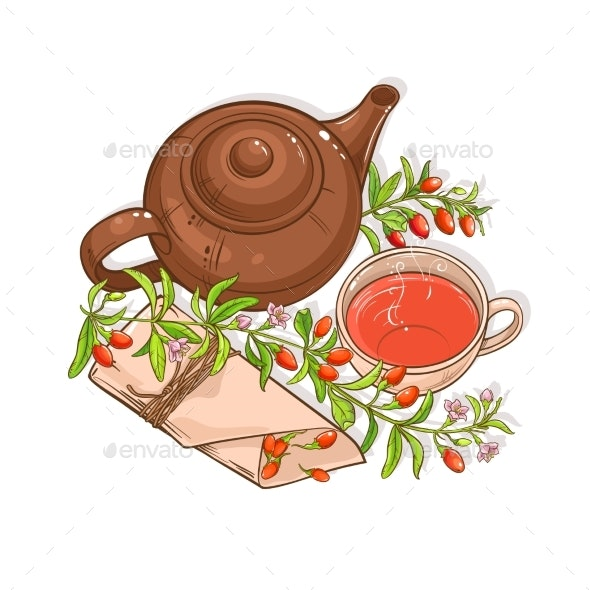 Goji Tea  Illustration - Food Objects