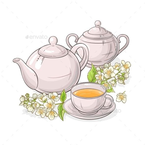 Jasmine Tea Vector Illustration - Health/Medicine Conceptual