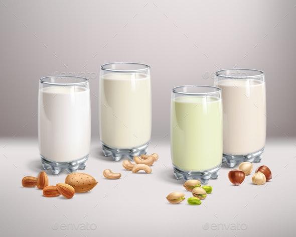 Vegan Nut-Milk in Glass - Food Objects