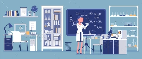Female Scientist Working in Laboratory - People Characters