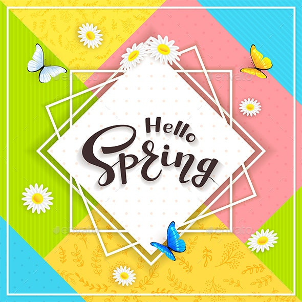 Colorful Background and Text Hello Spring - Seasons Nature