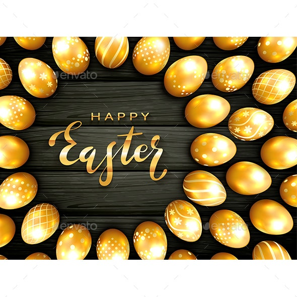 Golden Easter Eggs on Black Wooden Background - Miscellaneous Seasons/Holidays