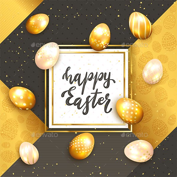 Eggs with Card on Gold and Black Background with Lettering Happy Easter
