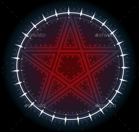 Red Five Pointed Pentagram Star with Ornament - Miscellaneous Vectors