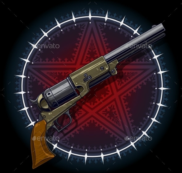 Old Revolver with Red Pentagram Star - Backgrounds Decorative