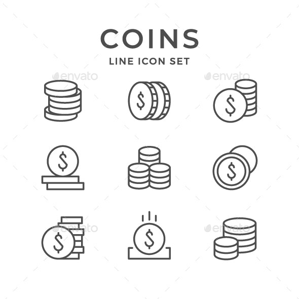 Set Line Icons of Coins - Man-made objects Objects