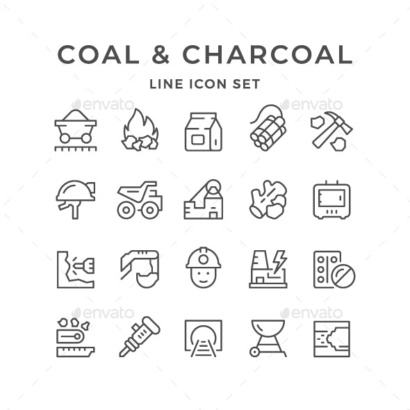 Set Line Icons of Coal and Charcoal - Man-made objects Objects