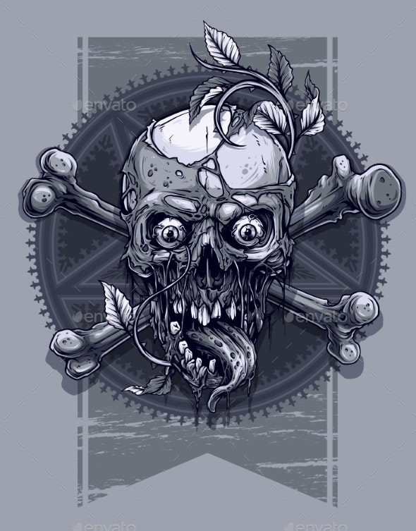 Graphic Human Skull with Pentagram Star - Miscellaneous Characters