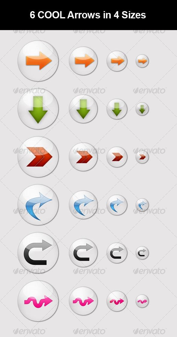 6 COOL Arrow Buttons - Buttons Web Elements