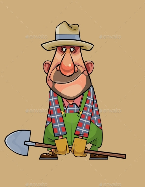 Cartoon Man Gardener Standing with a Shovel - People Characters