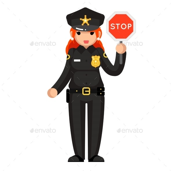 Female Police Officer With Stop Sign - People Characters