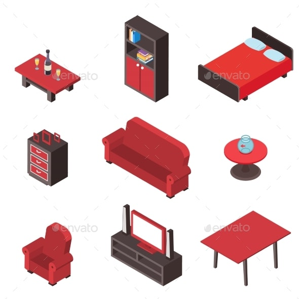 Isometric Interior Comfortable Wood Furniture - Man-made Objects Objects