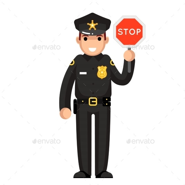 Police Officer With Stop Sign - People Characters