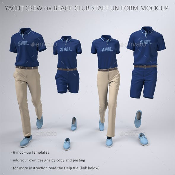 Yacht Crew Uniforms Pool and Beach Club Staff Uniform Mock-Up