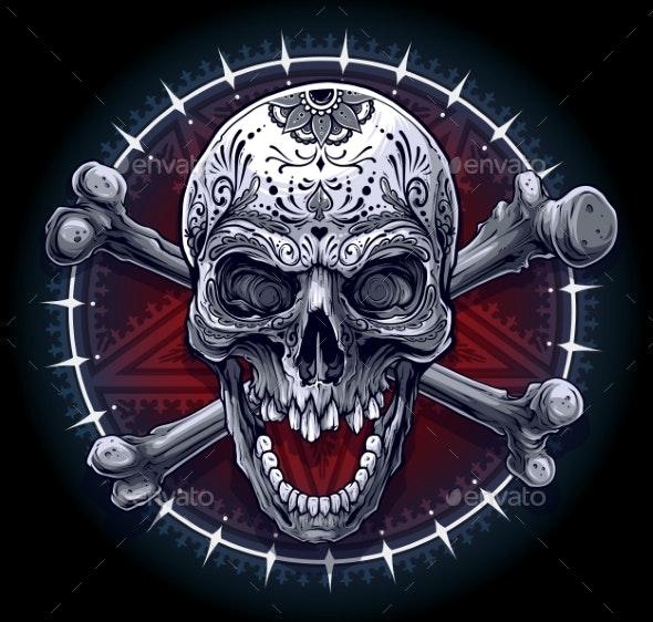 Graphic Human Skull with Pentagram Star - Decorative Symbols Decorative