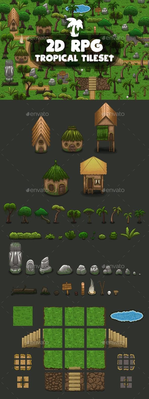 RPG Tropical Tileset - Tilesets Game Assets