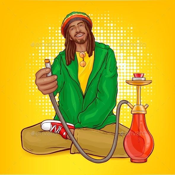 Vector Pop Art Rastafarian Guy Suggests Hookah - People Characters