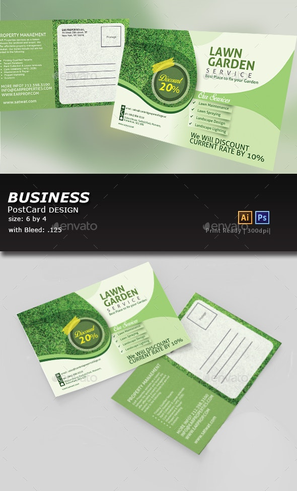 Landscaping and Lawn Post Card Template - Cards & Invites Print Templates