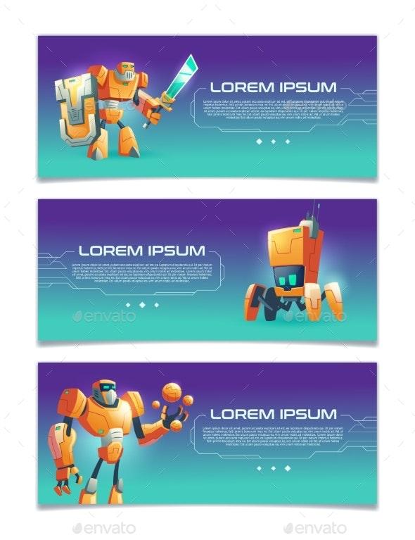 Cybernetic Organisms Cartoon Vector Web Banners - Computers Technology
