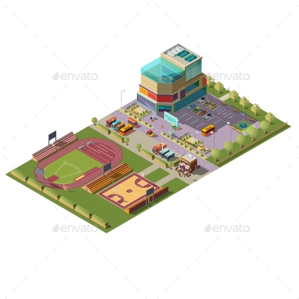 Supermarket and Sport Stadiums Isometric Vector - Buildings Objects