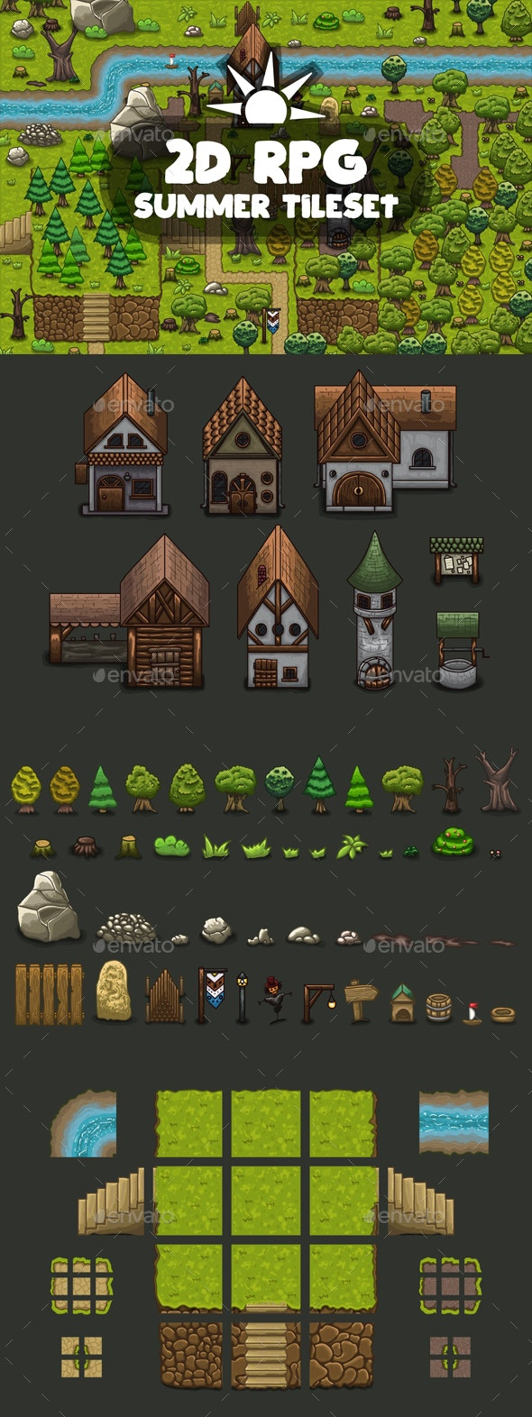 RPG Summer Tileset - Tilesets Game Assets