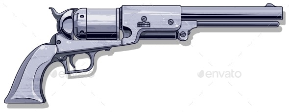 Graphic Detalied Old Revolver - Man-made Objects Objects