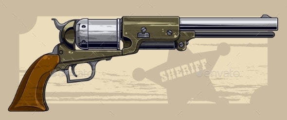 Graphic Detailed Old Revolver with Sheriff Star - Backgrounds Decorative