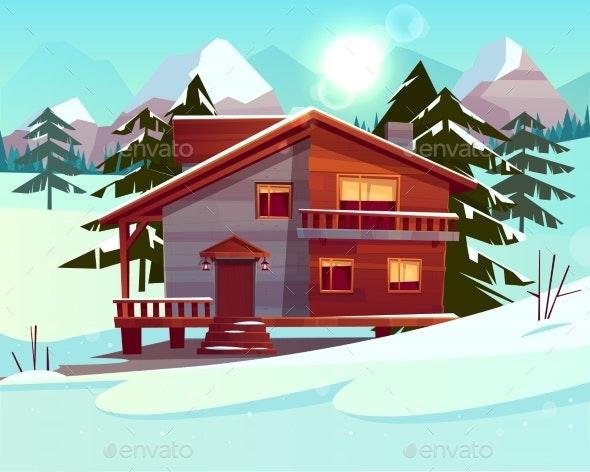 Vector Cartoon Luxury Hotel Winter Resort - Backgrounds Decorative