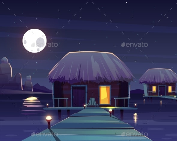 Vector Rich Hotel on Piles at Night - Backgrounds Decorative
