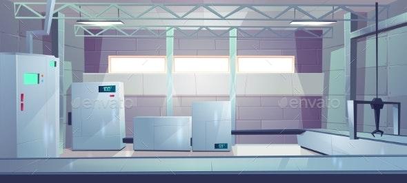 Industrial Factory Shop Interior Cartoon Vector - Industries Business