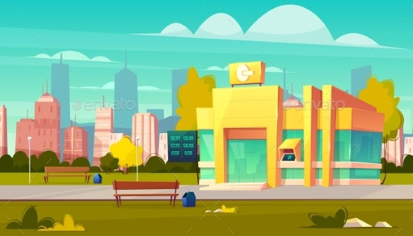 Modern City Bank Office Building Cartoon Vector - Buildings Objects