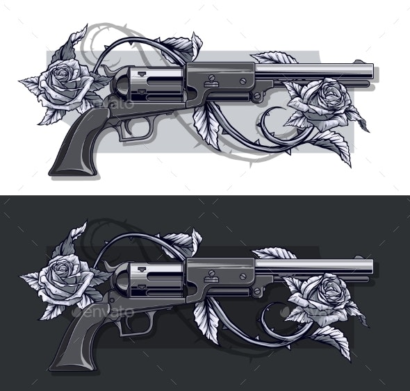 Graphic Detailed Old Revolvers Set with Roses - Decorative Symbols Decorative