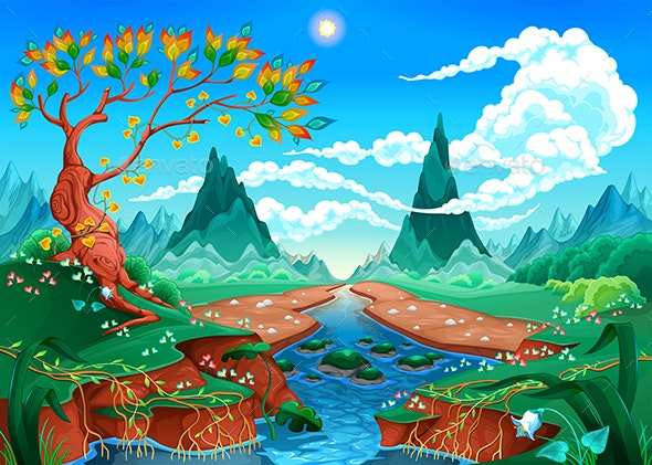 Natural Landscape with River Tree and Mountains - Landscapes Nature